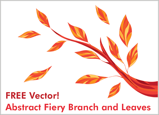 free-vectors-Abstract Fiery Branch-and-Leaves