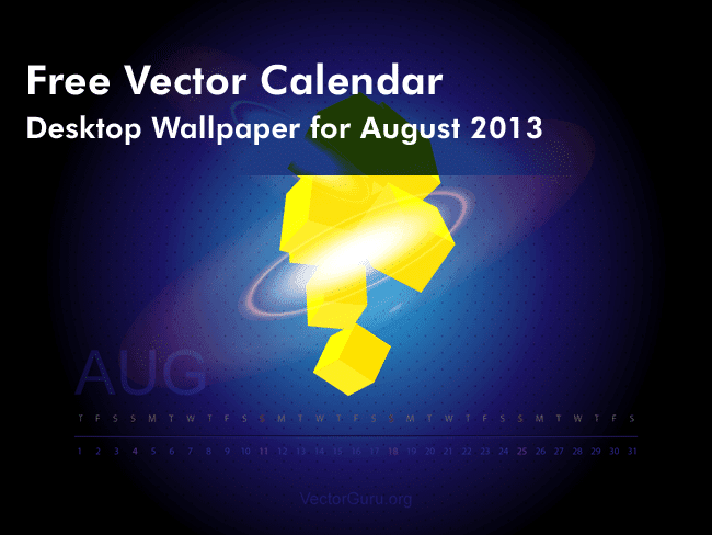 Free Vector Calendar - August 2013