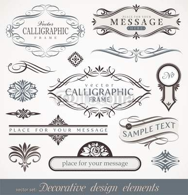 Decorative calligraphic design elements