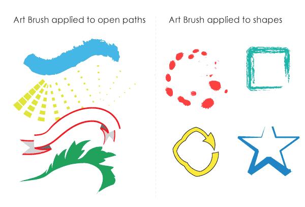 Illustrator Artbrush on paths and shapes