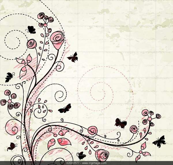 Vector floral with butterflies