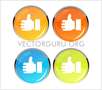 Glossy Colored Like Icon set