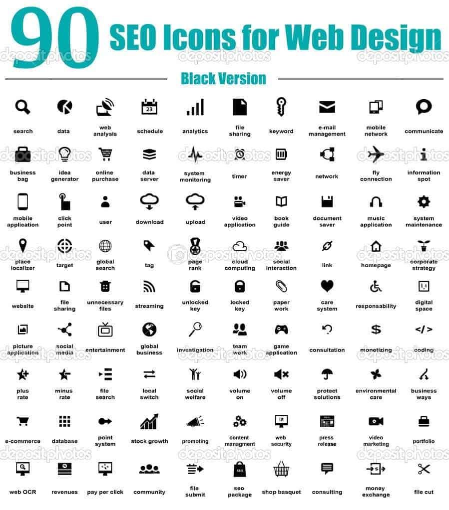 90 SEO Icons for Web Design