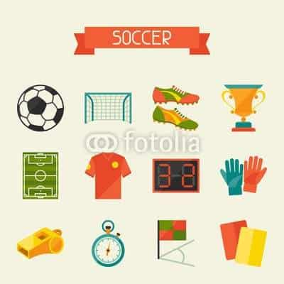 Soccer (football) icon set in flat design style