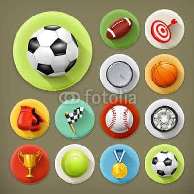 Sport, games and leisure, long shadow icons
