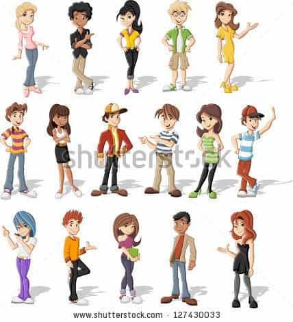 Group of happy cartoon teenagers