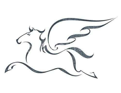 An outlining of Pegasus on a white background