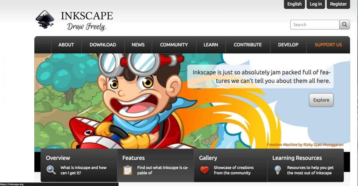 Screenshot of Inkscape homepage.