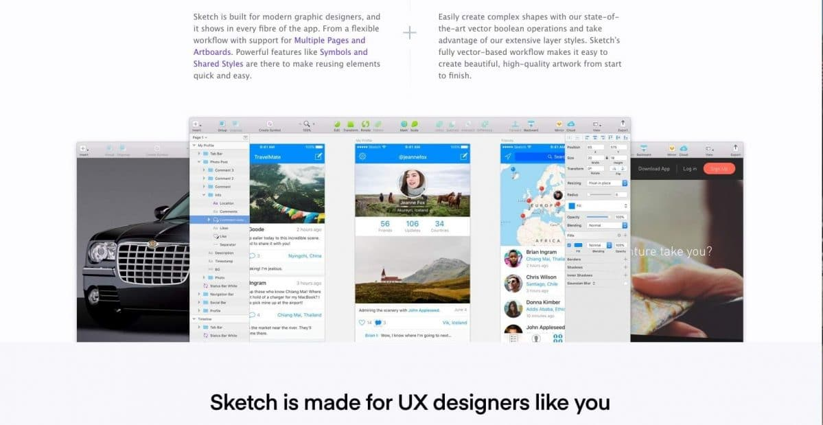 Screenshot of the Sketch homepage